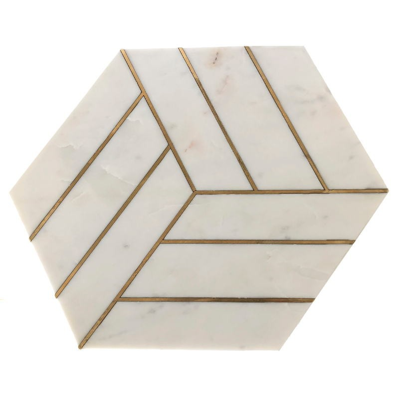 Side Table 44X44X58 Metal Golden Marble White - image 53205