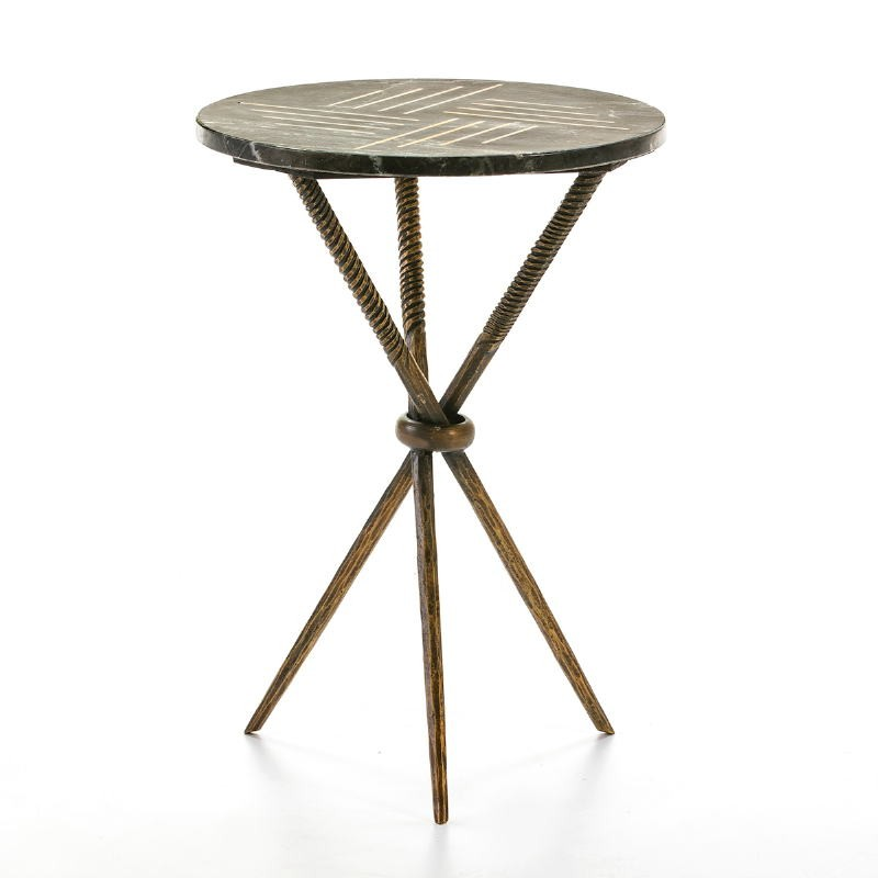 Side Table 40X40X58 Metal Golden Marble Black