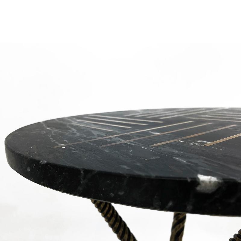 Table d'appoint, bout de canapé 40x40x58 Métal Doré Marbre Noir - image 53211