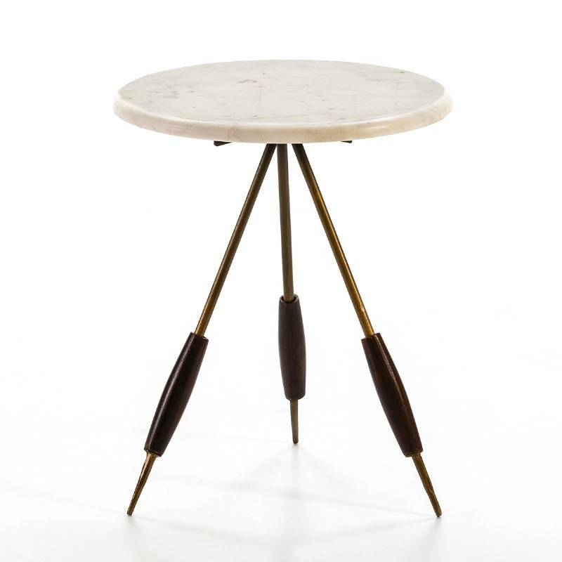 Side Table 38X38X46 Metal Golden Marble White - image 53212