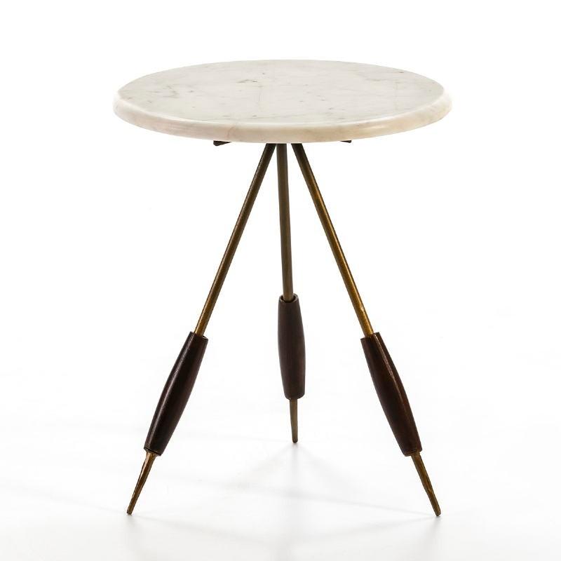Table d'appoint, bout de canapé 38x38x46 Métal Doré Marbre Blanc