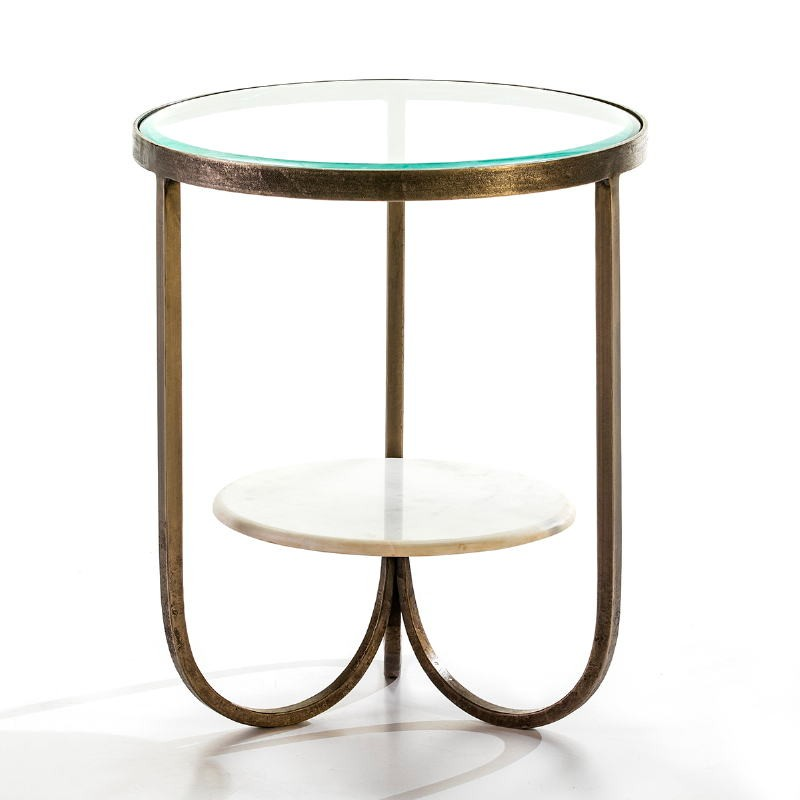 Table d'appoint, bout de canapé 51x51x61 Verre Métal Doré Marbre Blanc