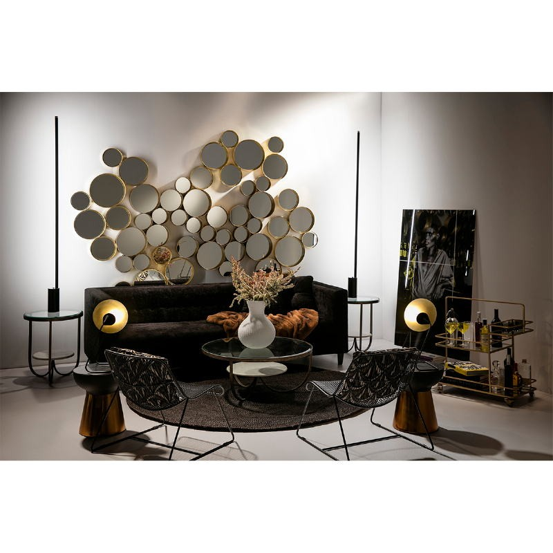 Coffee Table 92X92X40 Glass Metal Golden Marble White - image 53218