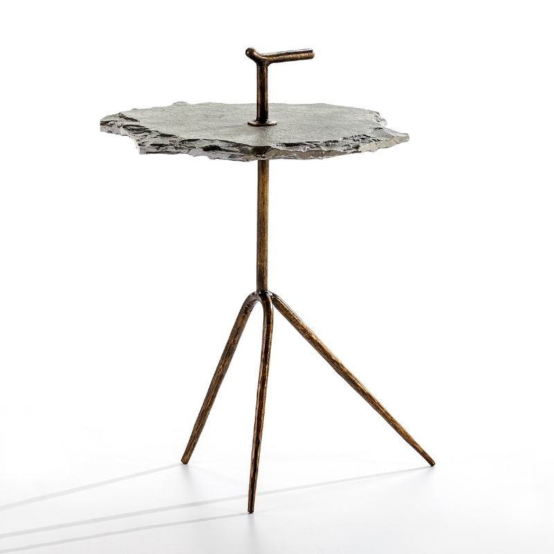 Table d'appoint, bout de canapé 52x48x70 Métal Doré Pierre Gris