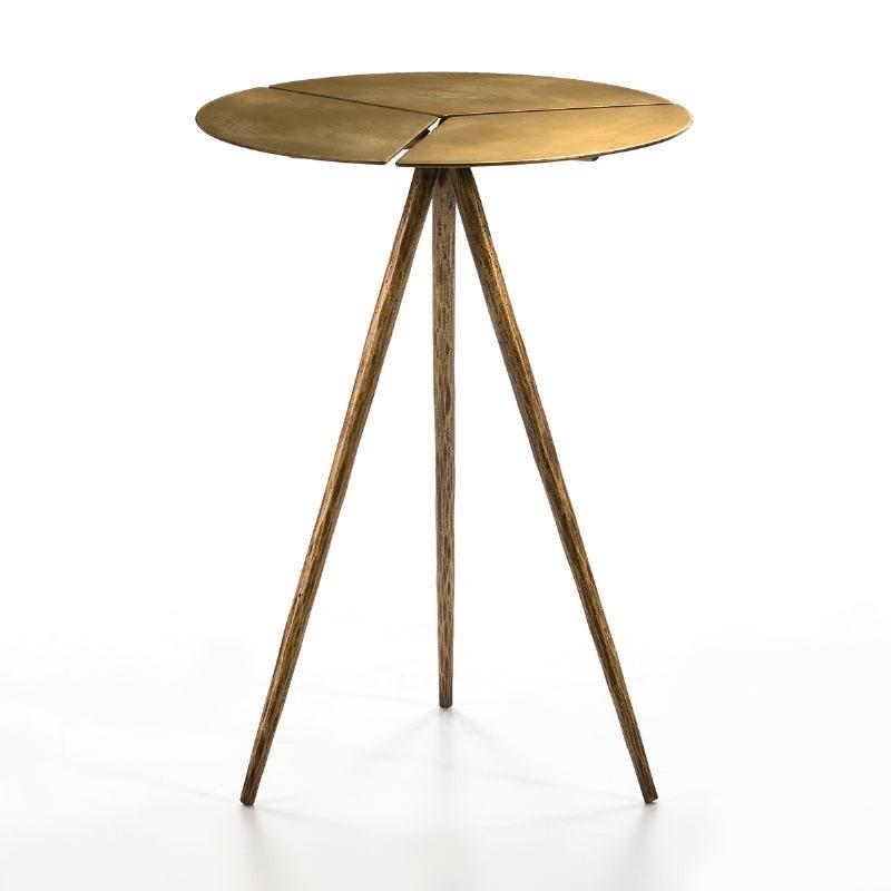 Table d'appoint, bout de canapé 40x40x57 Métal Doré