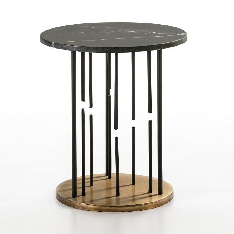 Side Table 51X51X58 Marble Black Metal Golden Black
