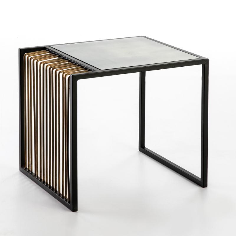 Table d'appoint, bout de canapé 56x48x51 Miroir Vieilli Métal Doré Noir - image 53237