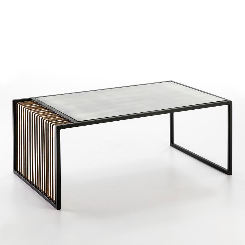 Table basse 104x61x43 Miroir Vieilli Métal Doré Noir