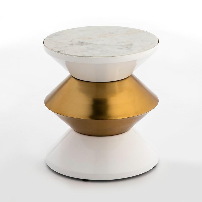 Table d'appoint, bout de canapé 36x36x39 Marbre Blanc Métal Blanc Doré - image 53247
