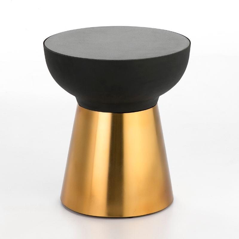 Side Table 40X40X43 Granite Black Metal Golden Black - image 53249