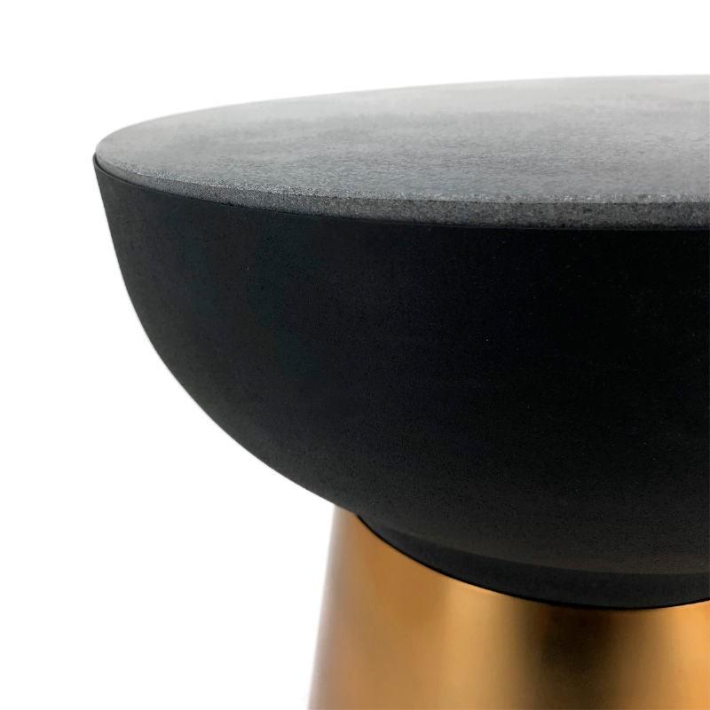 Side Table 40X40X43 Granite Black Metal Golden Black - image 53252