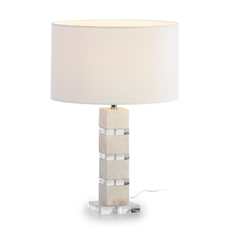 Lampe de Table sans abat-jour 13x13x38 Acrylique Marbre Blanc