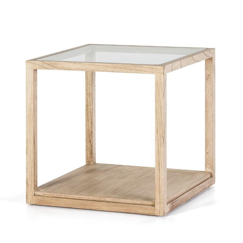 Beistelltisch, Beistelltisch 60X60X60 Glas Naturgebleichtes Holz - image 53285