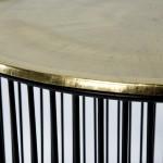Table d'appoint, bout de canapé 56x56x42 Fer Noir Doré