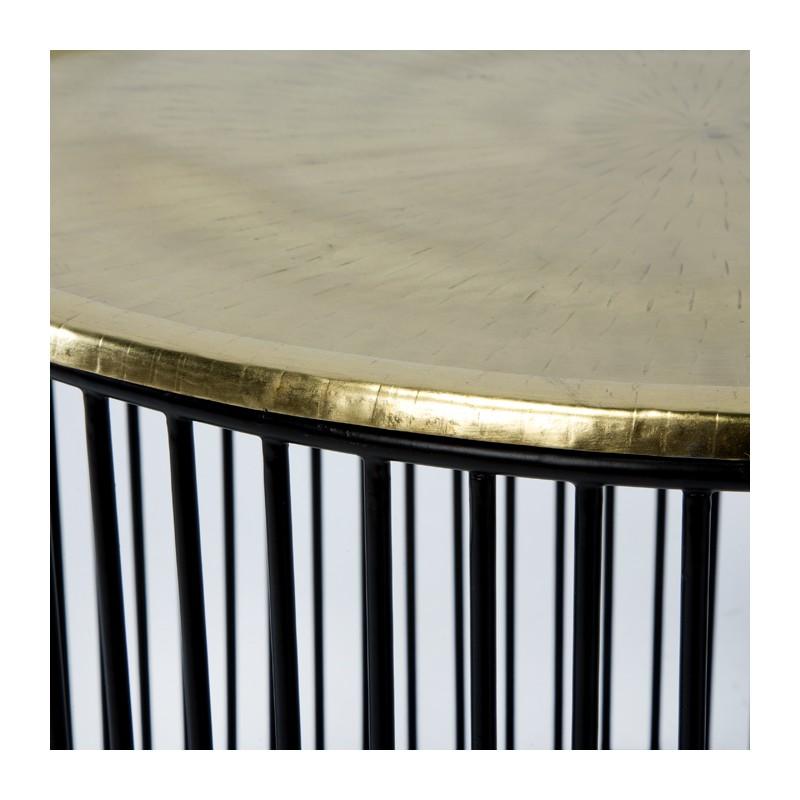 Table d'appoint, bout de canapé 56x56x42 Fer Noir Doré - image 53290