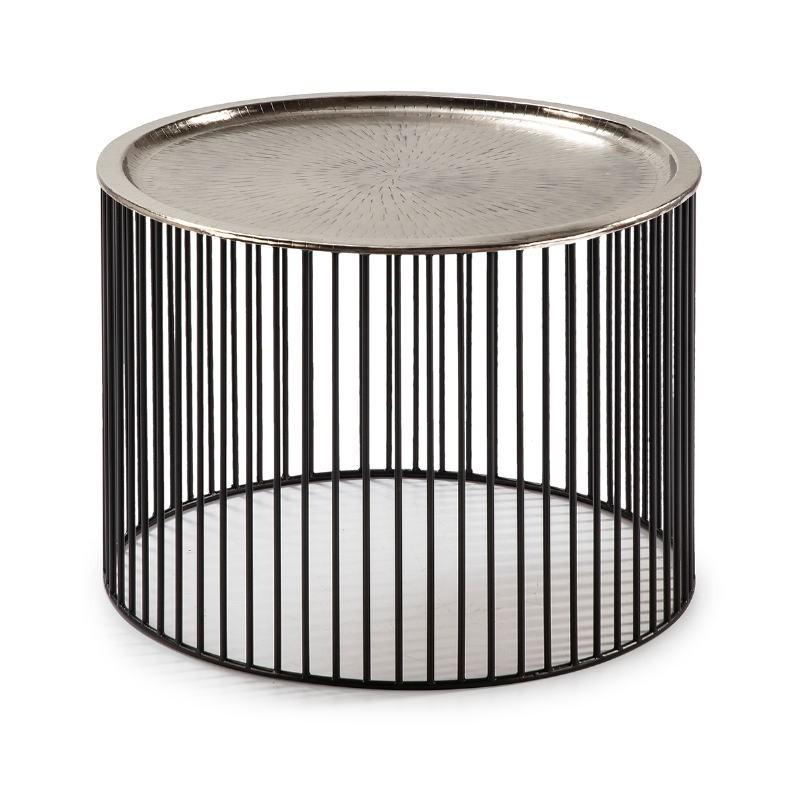 Table d'appoint, bout de canapé 56x56x42 Fer Noir Argent - image 53294