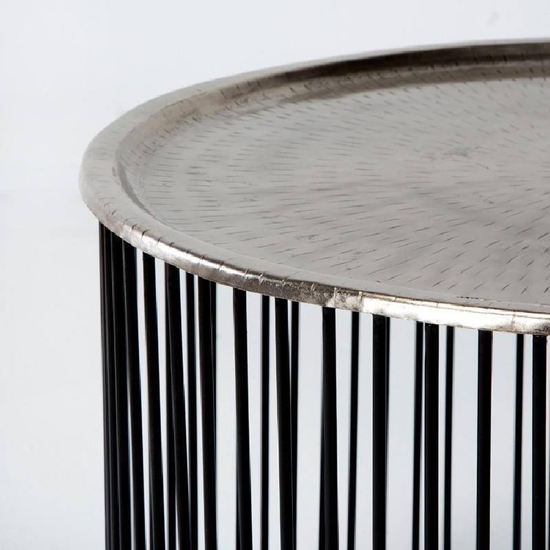 Table d'appoint, bout de canapé 56x56x42 Fer Noir Argent - image 53296