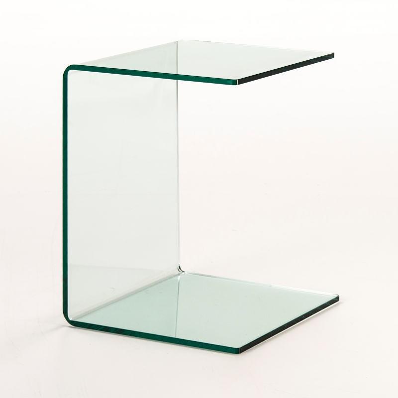 Table d'appoint, bout de canapé 40x40x53 Verre Transparent - image 53300