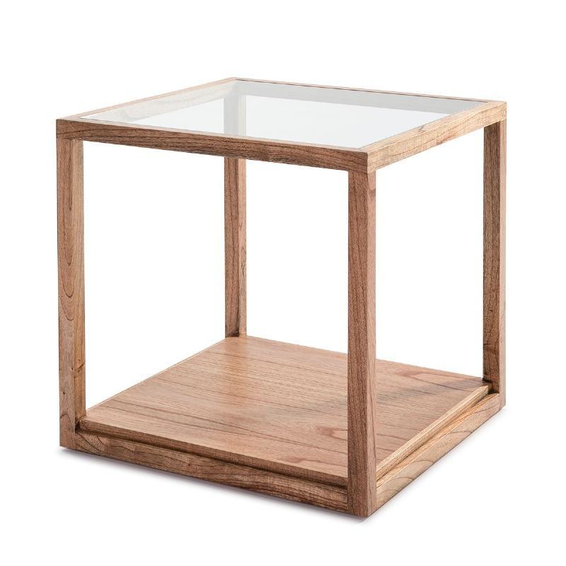 Table d'appoint, bout de canapé 60x60x60 Verre Bois Naturel  - image 53302