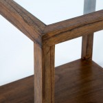 Auxiliary Table 60X60X60 Glass Wood Natural Veiled