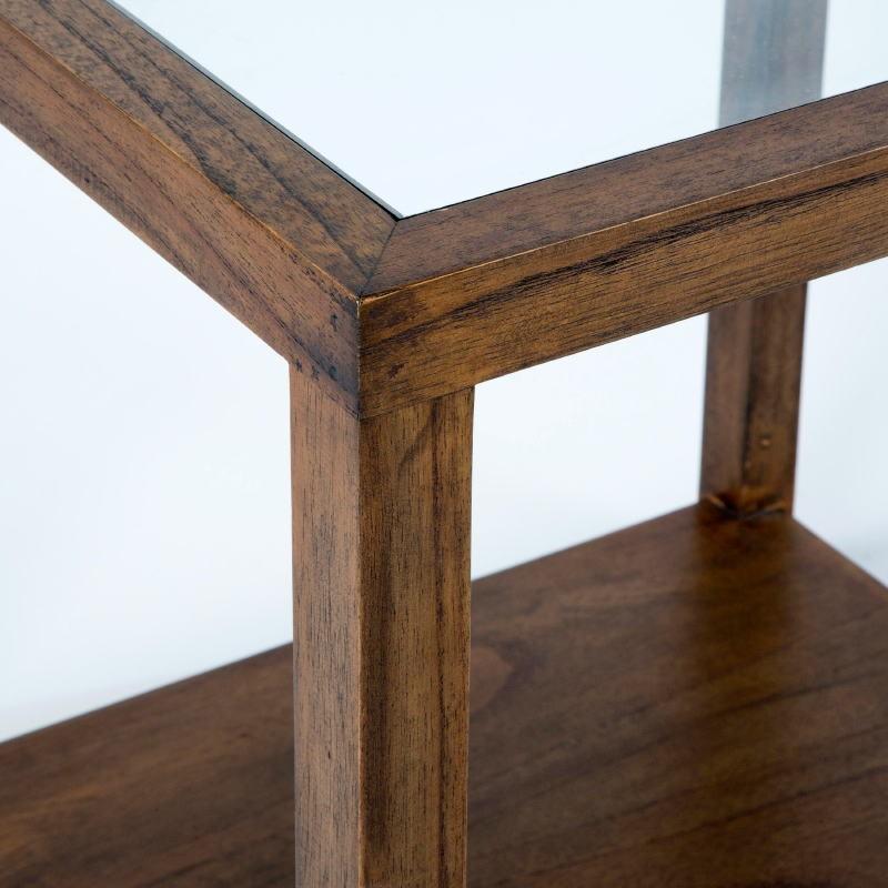 Table d'appoint, bout de canapé 60x60x60 Verre Bois Naturel  - image 53304