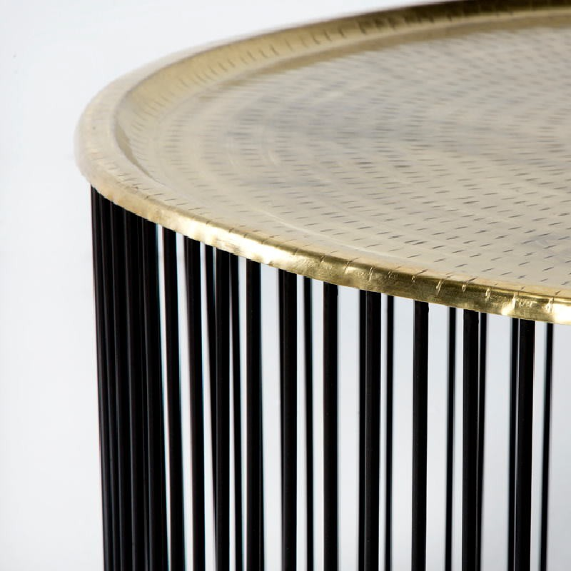 Coffee Table 80X80X42 Iron Black Golden - image 53308