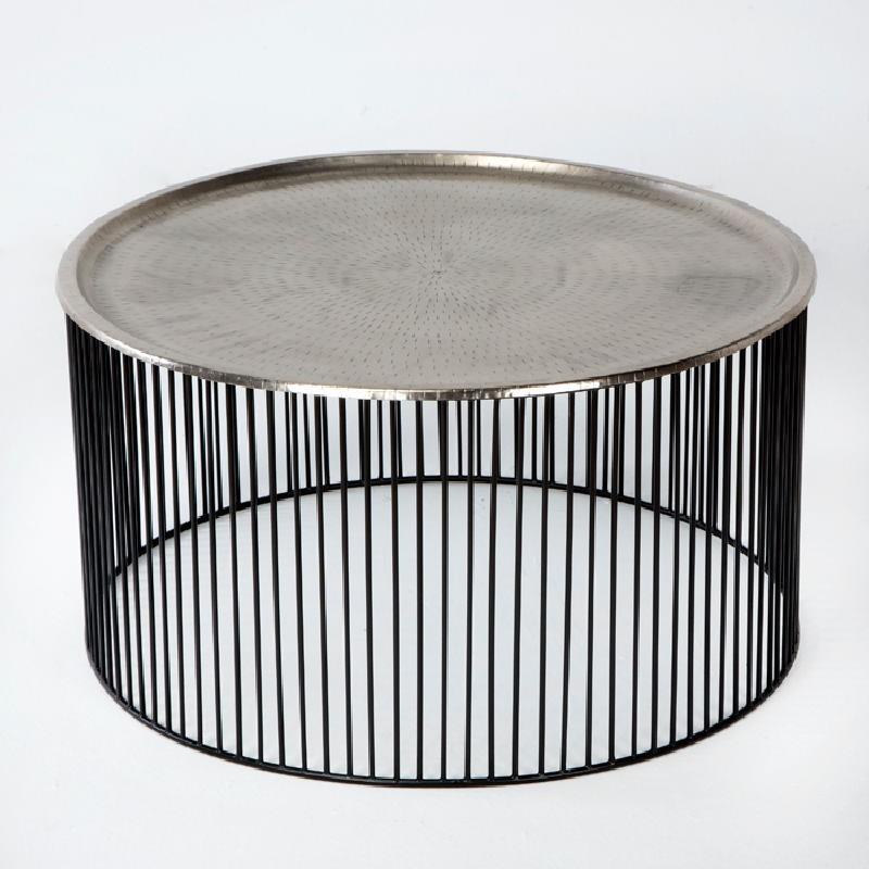 Table basse 80x80x42 Fer Noir Argent