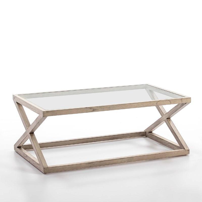 Table basse 120x70x45 Verre Bois Gris blanchi