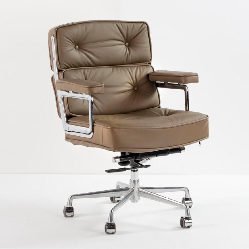 Bürostuhl 64X60X93 99 Verstellbares Metallleder Taupe - image 53322