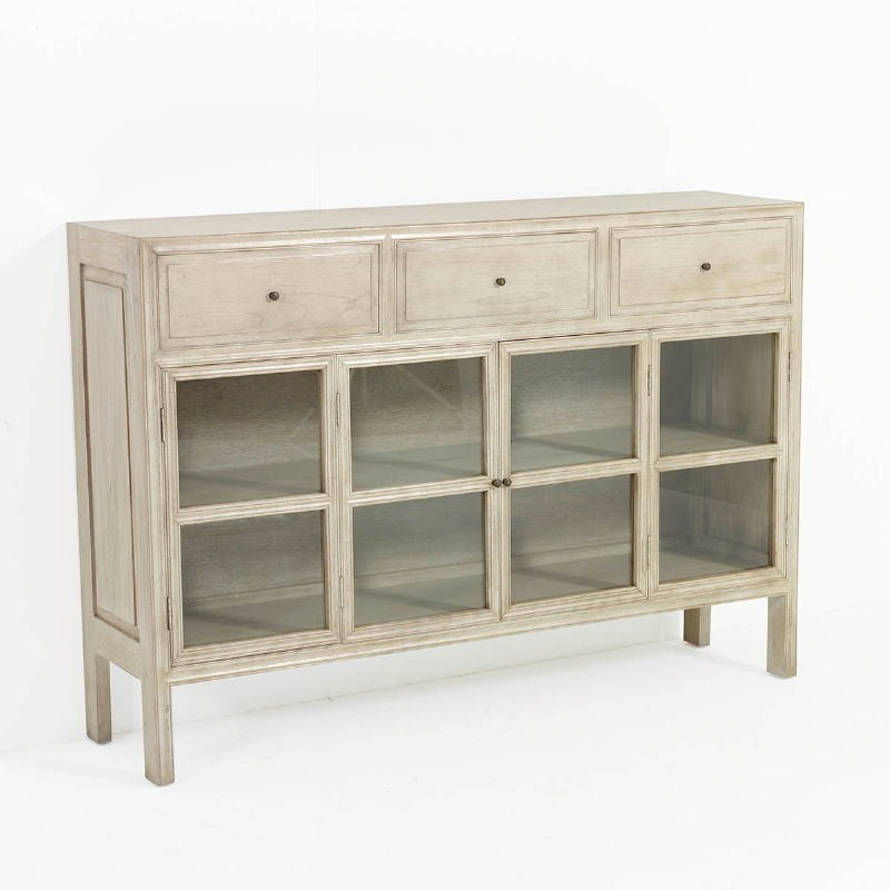 Sideboard 160X40X110 Glass Wood White Veiled - image 53323
