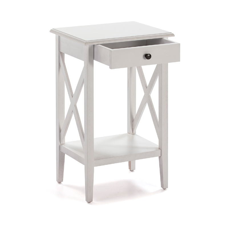 Bedside Table 42X35X70 Wood White - image 53335