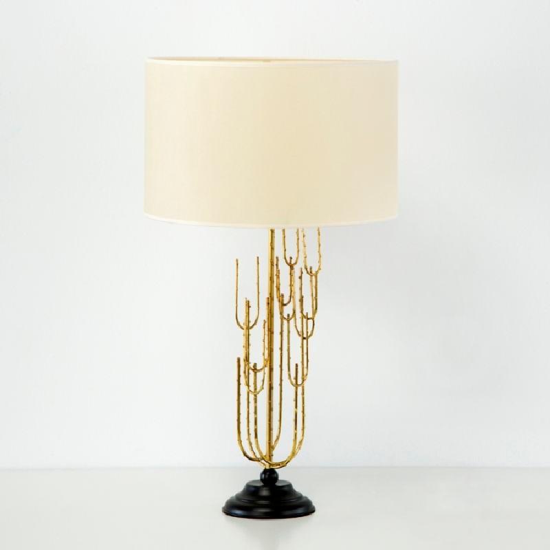 Lampe Auf Tisch Ohne Bildschirm 17X50 Metall Schwarz/Golden - image 53358