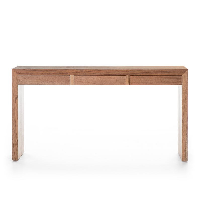 Console 3 Drawers 140X30X75 Wood Natural Veiled - image 53400