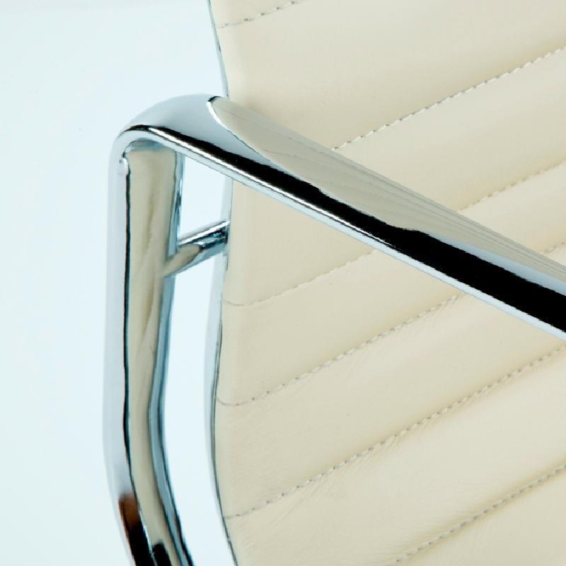 Chaise de Bureau Réglable 58x64x89 97 Métal Cuir Blanc cassé - image 53403