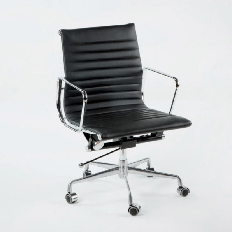 Chaise de Bureau Réglable 58x64x89 97 Métal Cuir Noir