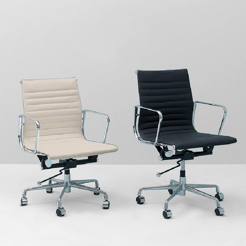 Verstellbarer Bürostuhl 58X64X89 97 Metallschwarzes Leder - image 53409