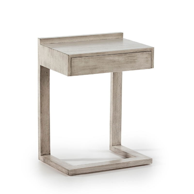 Bedside Table 50X35X66 Wood Grey Veiled