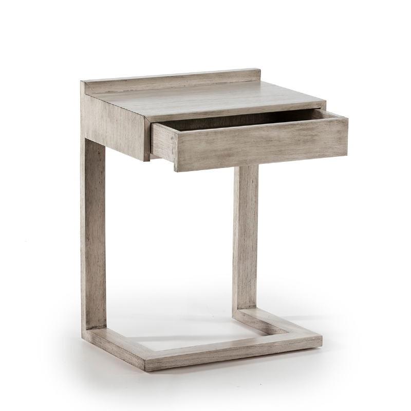 Bedside Table 50X35X66 Wood Grey Veiled - image 53441