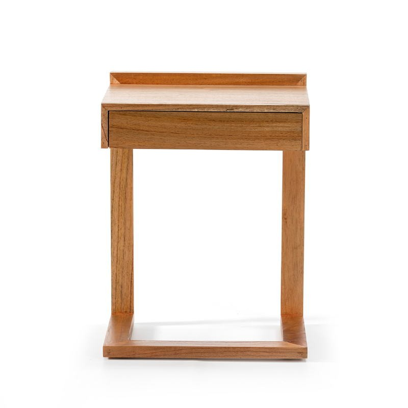 Bedside Table 50X35X66 Wood Natural Veiled - image 53446
