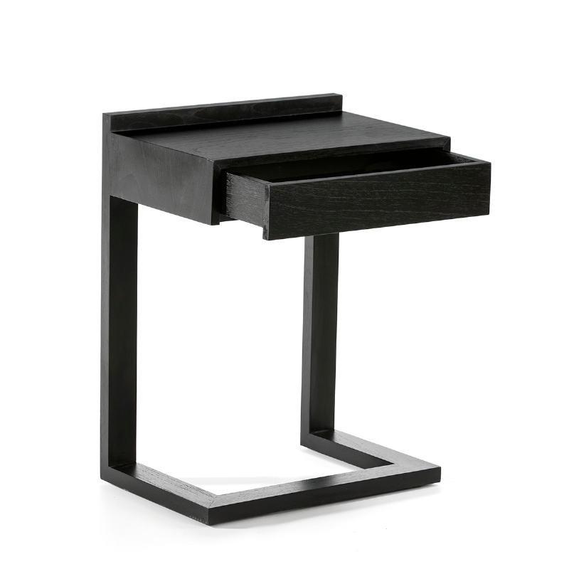 Bedside Table 50X35X66 Wood Black - image 53451