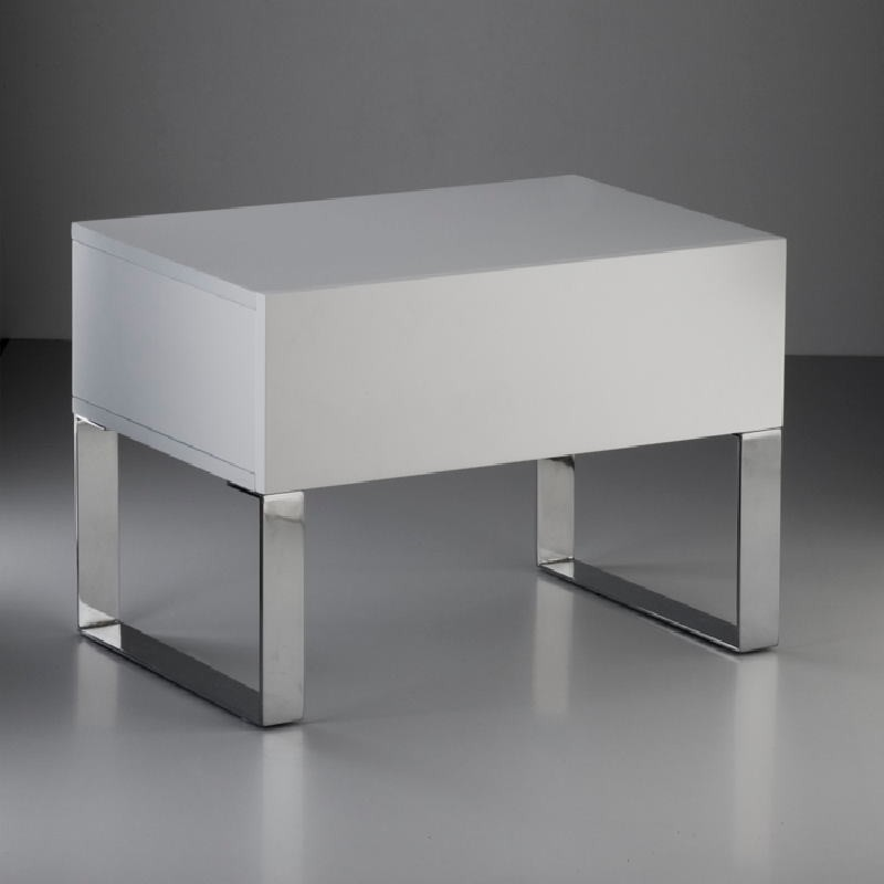 Bedside Table 63X40X44 Steel Mdf White