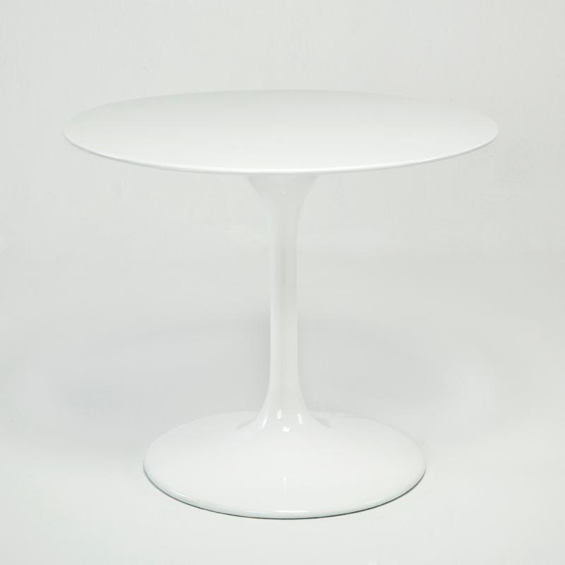 Table à Manger 90x90x75 Fibre de verre Blanc