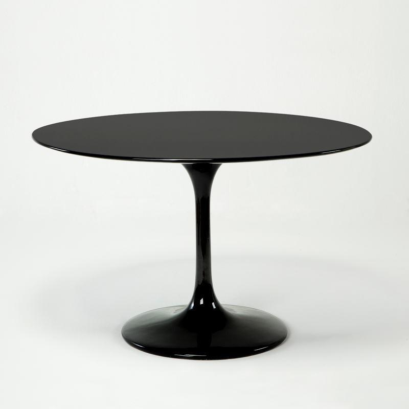 Table à Manger 120x120x75 Fibre de verre Noir - image 53484