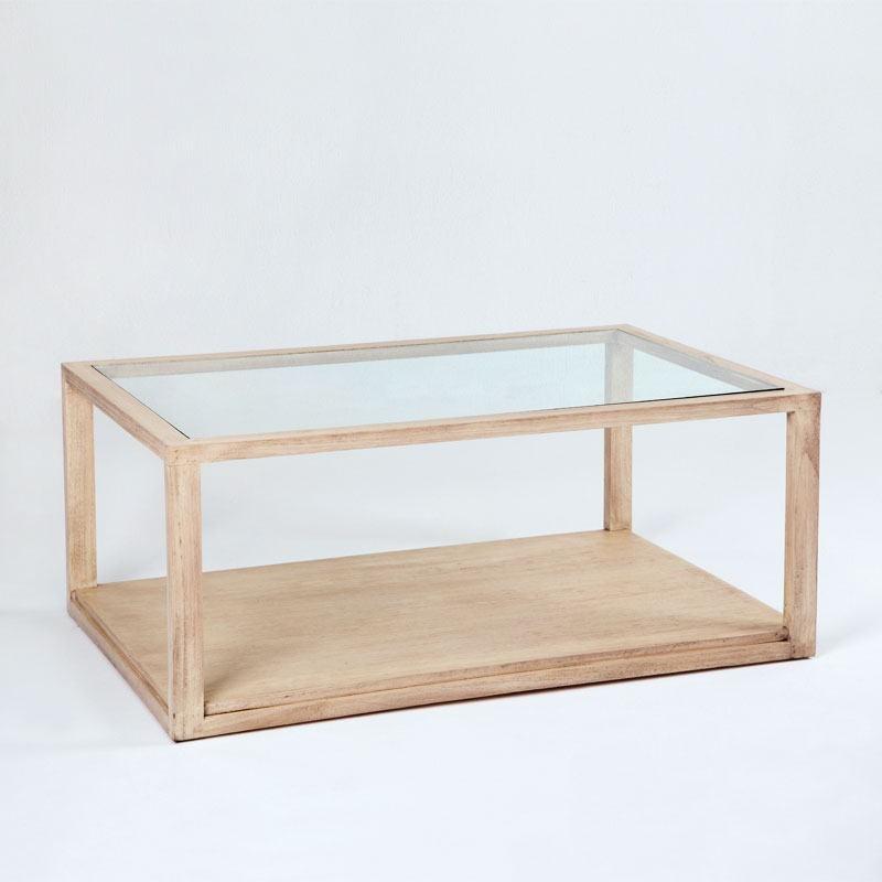 Coffee Table 110X70X45 Glass Wood White Veiled - image 53487