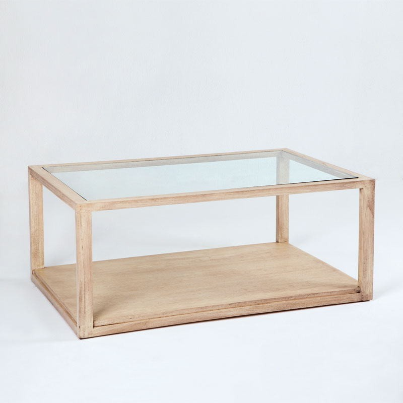 Table basse 110x70x45 Verre Bois naturel - image 53487
