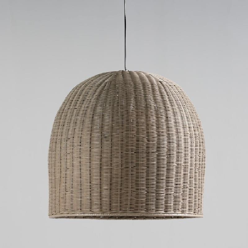 Lampe suspendue avec abat-jour 60x60 Osier Gris