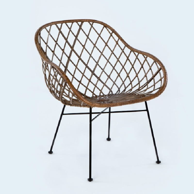 Chair 66X66X77 Metal Wicker Brown