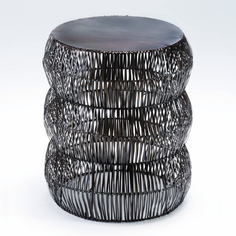 Niedriger Hocker 43X50 Metallfarbe Im Alter Von Bronze - image 53622