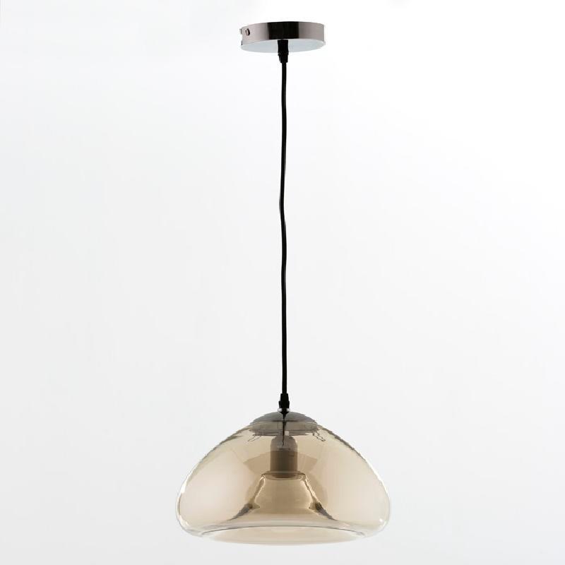 Lampada A Sospensione Con Paralume 30X18 Vetro Ambra