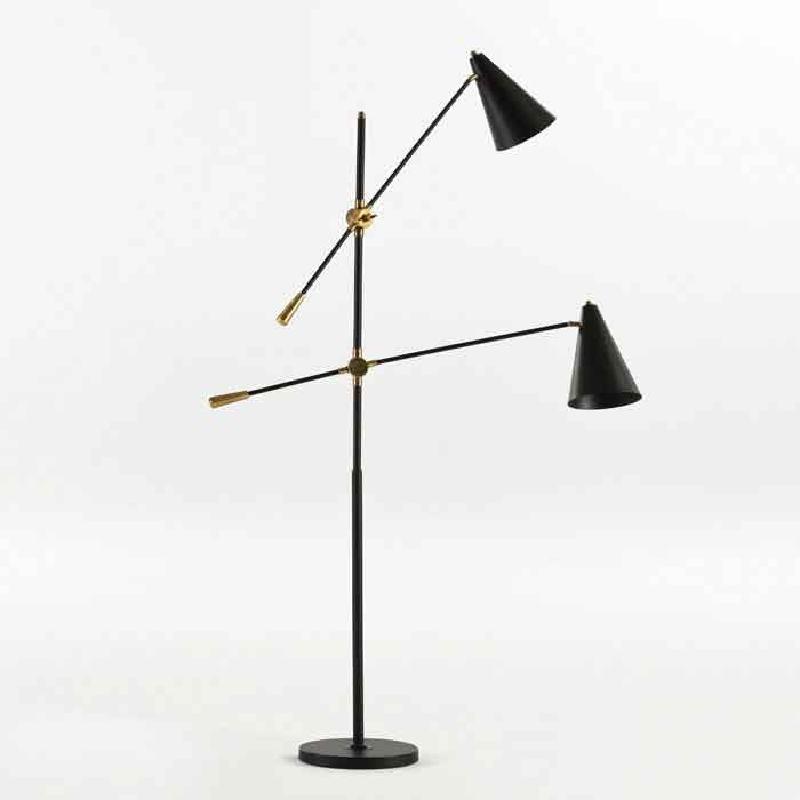 Standard Lamp With Lampshade 100X170 Metal Black